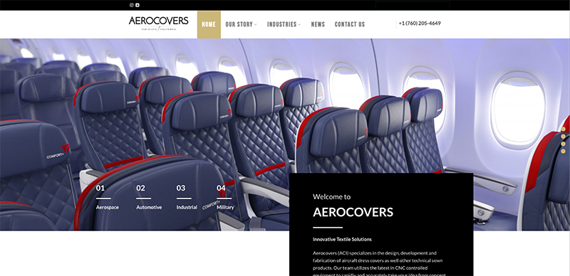 Aerocovers New Website Screenshot